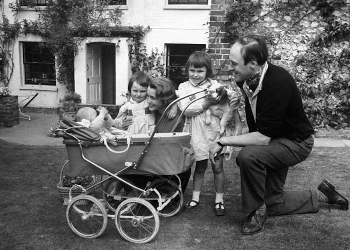 A family photograph of the children's author Roald Dahl, with his wife Patricia Neal, and children Olivia (right) Tessa, and Theo (in pram).   (Photo by PA Images via Getty Images)