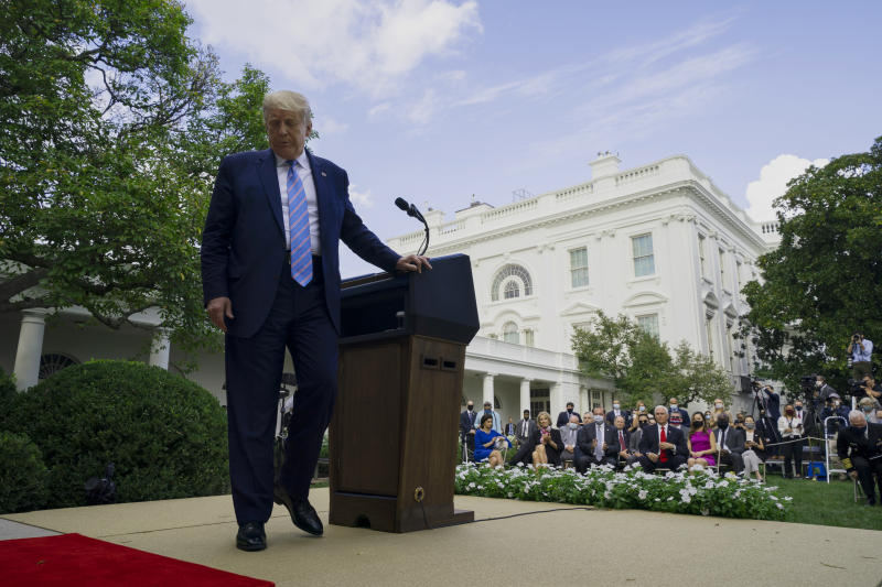 President Donald Trump leaves after an event about coronavirus testing strategy, in the Rose Garden of the White House, Monday, Sept. 28, 2020, in Washington. (AP Photo/Evan Vucci)