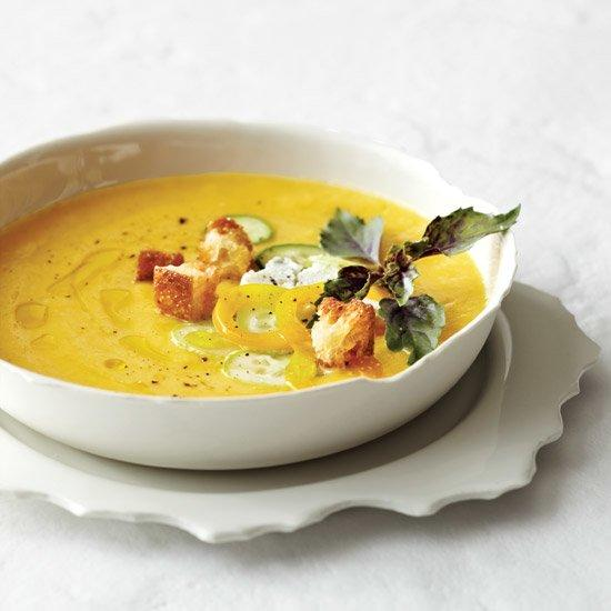 """<p>Chef Jason Franey makes this sweet and tangy summer soup by marinating fresh peaches overnight with dried apricots, honey, vinegar and olive oil and then pureeing the mixture. Since peaches can vary in flavor, Franey suggests seasoning with vinegar to taste as you puree.</p><p><a href=""""https://www.foodandwine.com/recipes/chilled-peach-soup-with-fresh-goat-cheese"""">GO TO RECIPE</a></p>"""