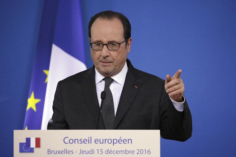French President Francois Hollande speaks during a media conference at the end of an EU Summit in Brussels on Thursday, Dec. 15, 2016. European Union leaders met in a separate session Thursday evening without Prime Minister Theresa May as they try to chart the way ahead with an EU of 27 members without Britain. (AP Photo/Olivier Matthys)