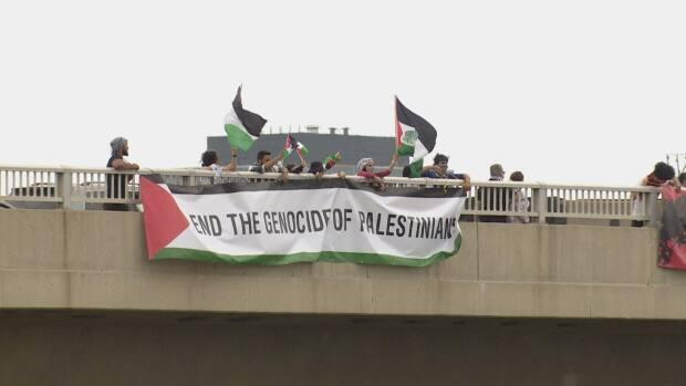 A group displayed banners in solidarity with Palestinians on Saturday, holding banners along several different bridgesoverlooking Highway 401 in Toronto.