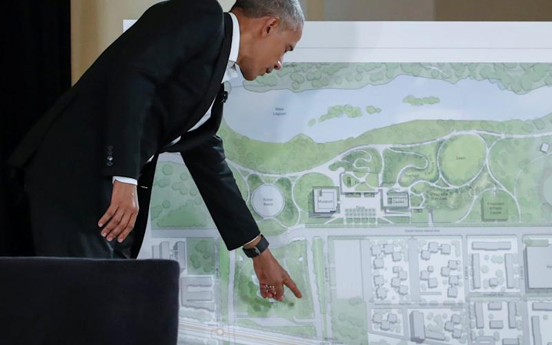 Former U.S. President Barack Obama speaks during a community event on the Obama Presidential Centre at the South Shore Cultural Centre in Chicago, Illinois - REUTERS