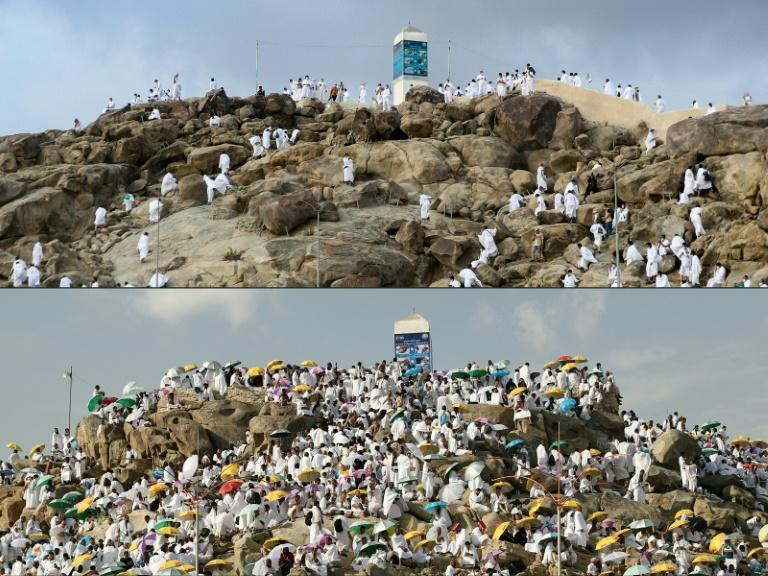 Restrictions imposed by the Saudi authorities to avoid a coronavirus outbreak saw a trickle of pilgrims scale Mount Arafat for the high point of the hajj compared with the sea of faithful last year