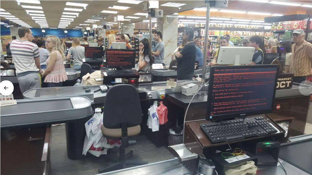 Customers queue in ÔRostÓ supermarket in Kharkiv, Ukraine June 27, 2017 in this picture obtained from social media. MIKHAIL GOLUB via REUTERS  THIS IMAGE HAS BEEN SUPPLIED BY A THIRD PARTY.  NO RESALES. NO ARCHIVES. MANDATORY CREDIT