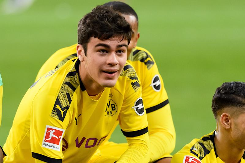Borussia Dortmund's Giovanni Reyna is one of seven Americans in the Bundesliga, which is scheduled to return to action later this month. (Alex Gottschalk/Getty)