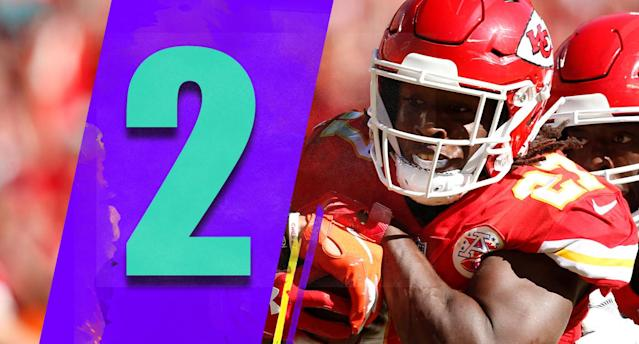 <p>The Chiefs gained 340 yards and scored 30 points Sunday. A good day for most mortal teams, but that was the Chiefs' lowest yardage total of the season. (Kareem Hunt) </p>