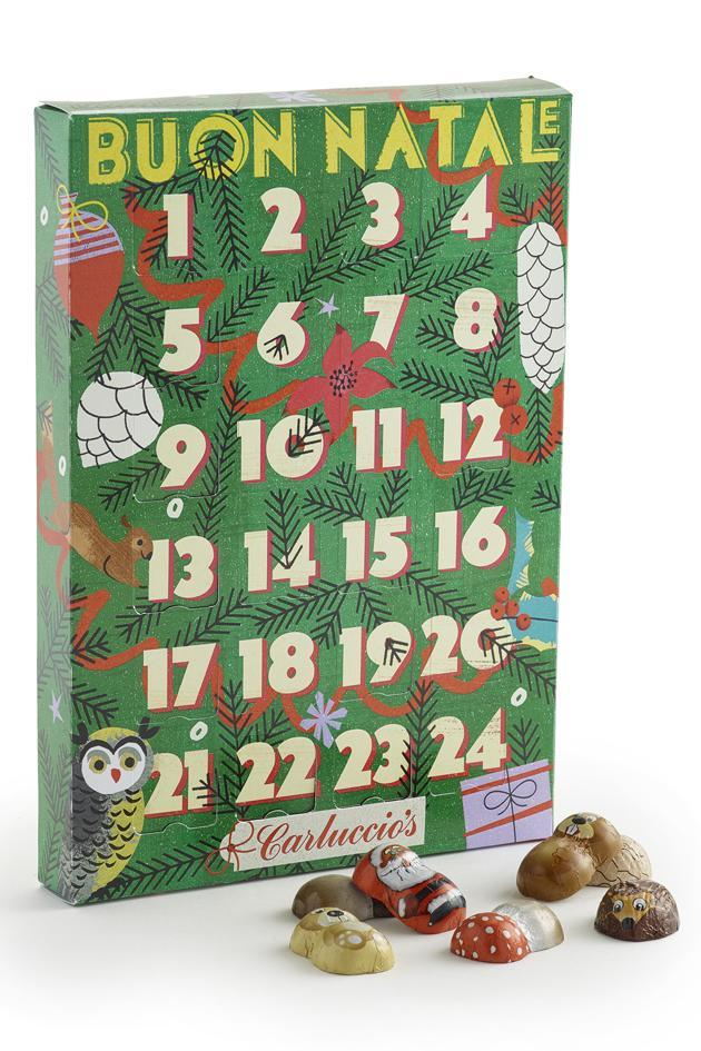 """<p>This advent calendar from Carluccio's has a lovely retro feel. Packed with foil wrapped milk chocolates, some with a gianduja filling, all completely adorable.</p><p>£9.95 <a href=""""http://www.carluccios.com/shop-online/christmas_gift_shop/advent-calandar"""" rel=""""nofollow noopener"""" target=""""_blank"""" data-ylk=""""slk:Carluccio's"""" class=""""link rapid-noclick-resp"""">Carluccio's</a></p>"""