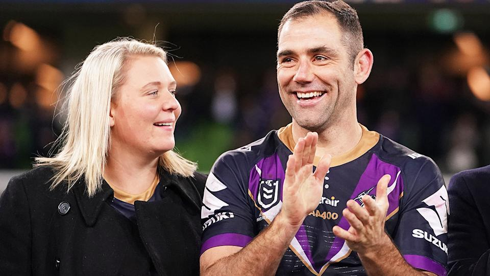Cameron Smith and wife Barbara, pictured here at a Melbourne Storm game in 2019.