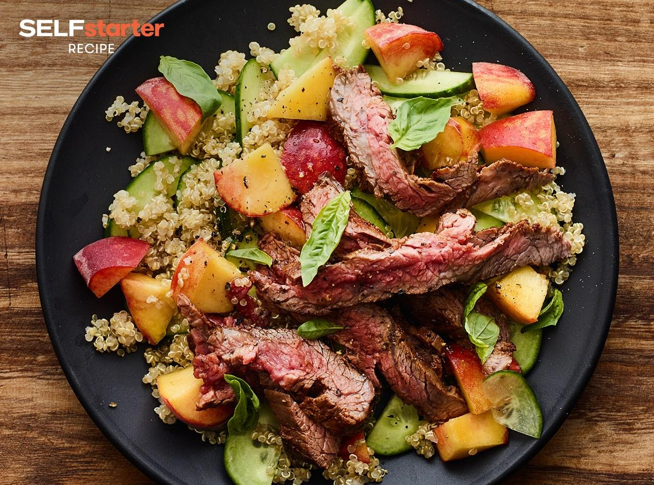 """<p>Steak salad is my go-to order at fancy lunch restaurants, but it didn't occur to me until recently to pack it for lunch. Sweet peaches and savory steak are the best parts of this salad, with quinoa and cucumber in there to bulk things up and soak up the flavors. Get the recipe <a rel=""""nofollow"""" href=""""https://www.self.com/recipe/steak-salad-with-cucumber-peach-and-quinoa?mbid=synd_yahoofood"""">here</a>.</p><p><b>Per one serving:</b> <em>516 calories, 22 g fat, 52 g carbs, 32 g protein</em></p>"""