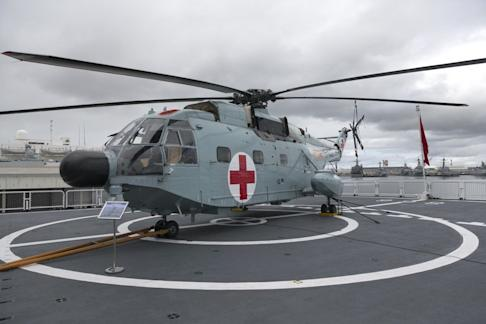 A medical helicopter sits aboard the Daishandao. Photo: AP