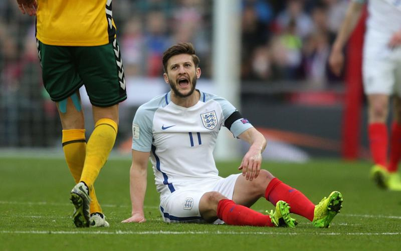 Adam Lallana picked up a thigh injury against Lithuania - Rex Features