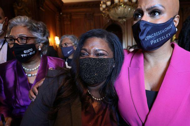 PHOTO: Rep. Cori Bush and Rep. Ayanna Pressley walk with their arms around each other to a news conference following the verdict in the Derick Chauvin murder trial at the U.S. Capitol on April 20, 2021, in Washington, D.C. (Chip Somodevilla/Getty Images)