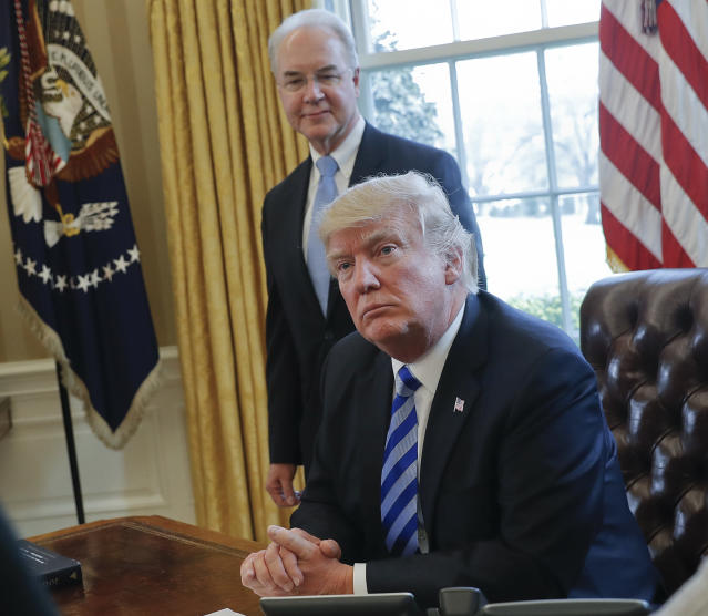 Two of the biggest names in the health insurance policy, President Trump and Secretary of Health and Human Services Tom Price. Source: AP