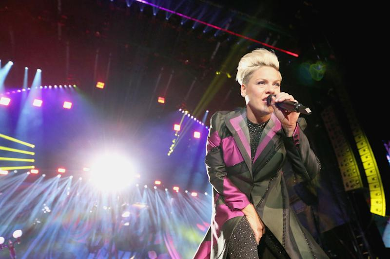 AUSTIN, TEXAS - NOVEMBER 02: P!nk performs in concert during the Formula 1 United States Grand Prix at Circuit of The Americas on November 2, 2019 in Austin, Texas. (Photo by Gary Miller/Getty Images)