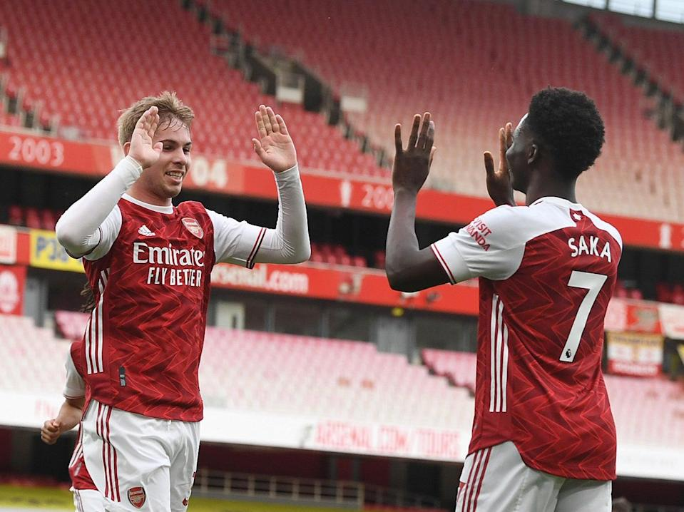 Emile Smith Rowe and Bukayo Saka have been standout players at Arsenal this season (Arsenal FC via Getty Images)
