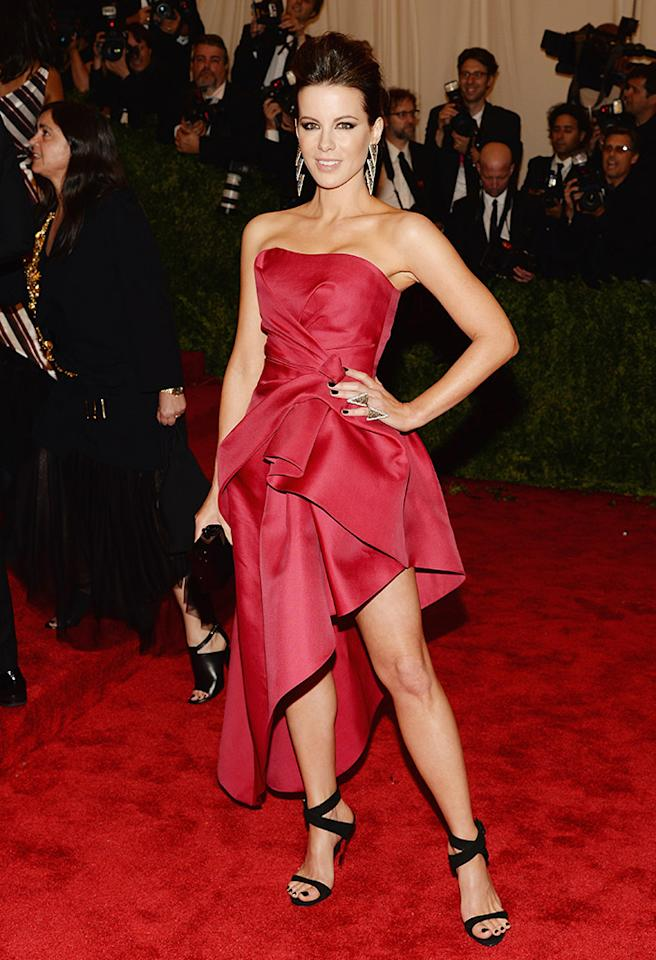 Kate Beckinsale gave off a punk, girlish vibe in a pink Albert Ferretti dress and a pair of tough stilettos.
