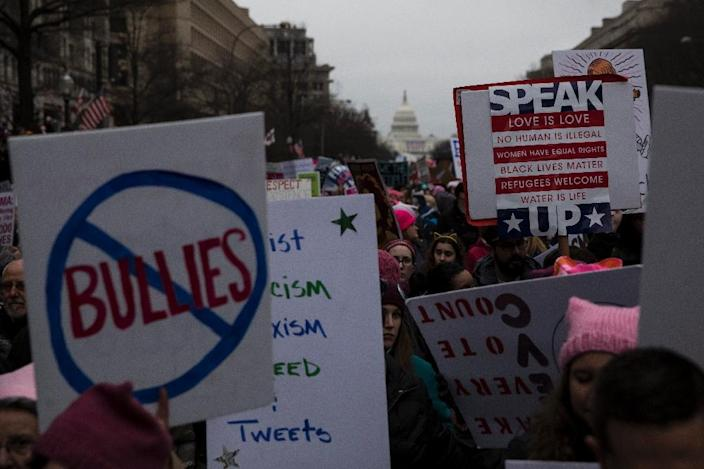 Women poured into Washington to express concern, anger and outrage over Donald Trump's taking over as US president, inspiring many more protests nationwide (AFP Photo/ZACH GIBSON)