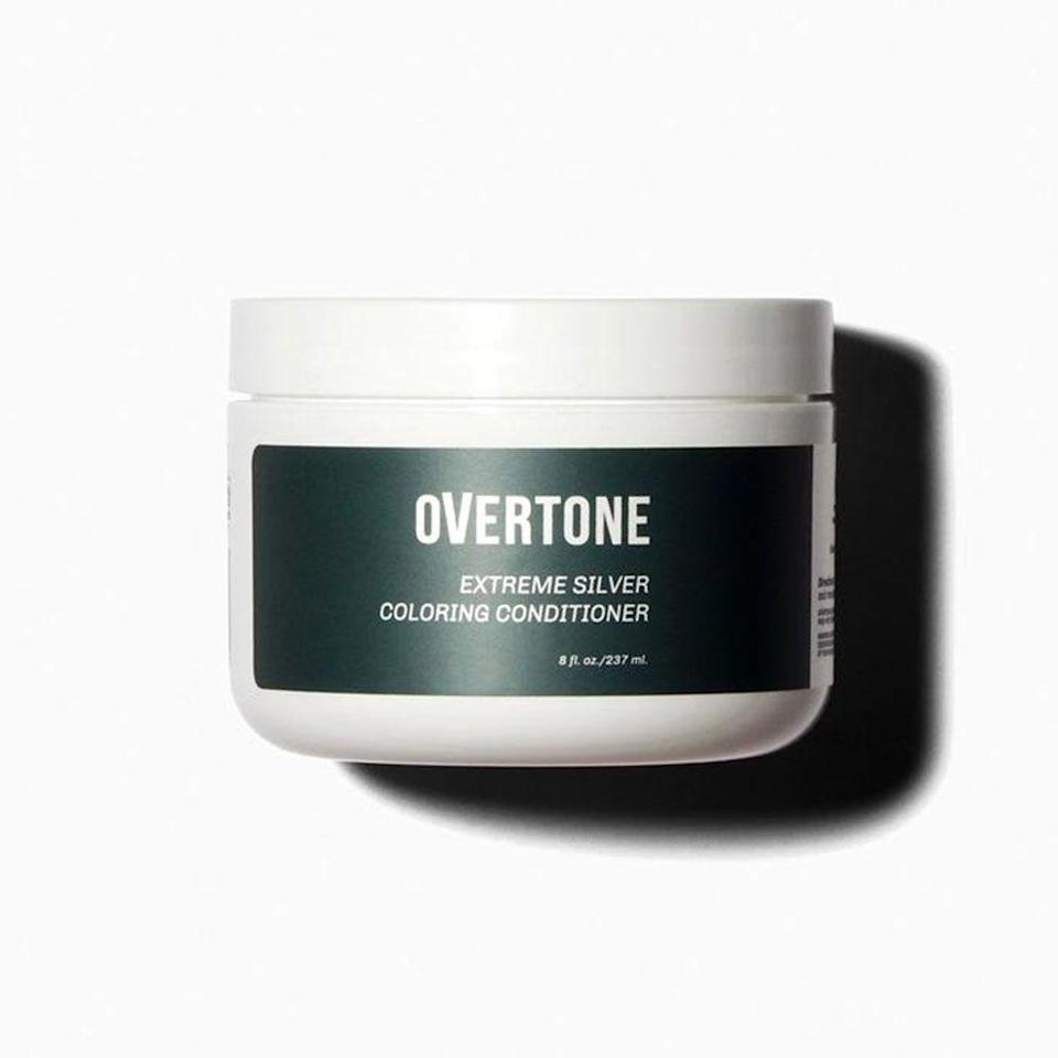 """<p><strong>oVertone</strong></p><p>overtone.co</p><p><strong>$29.00</strong></p><p><a href=""""https://overtone.co/products/extreme-silver-coloring-conditioner"""" rel=""""nofollow noopener"""" target=""""_blank"""" data-ylk=""""slk:Shop Now"""" class=""""link rapid-noclick-resp"""">Shop Now</a></p><p>To give your grey locks a metallic sheen, try out this silvery shade. <br>This deep, dark silver color will give your grey strands a healthier, holographic look that will elevate your look. Plus, this conditioning formula deposits intense pigment into your hair while softening and strengthening it, creating a mane that's healthy and happy from the inside out.</p>"""