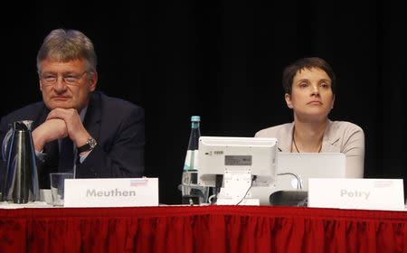 Party leaders Frauke Petry and Joerg Meuthen of Germany's anti-immigration party Alternative for Germany (AFD) during an AFD party congress in Cologne Germany, April 23, 2017. REUTERS/Wolfgang Rattay