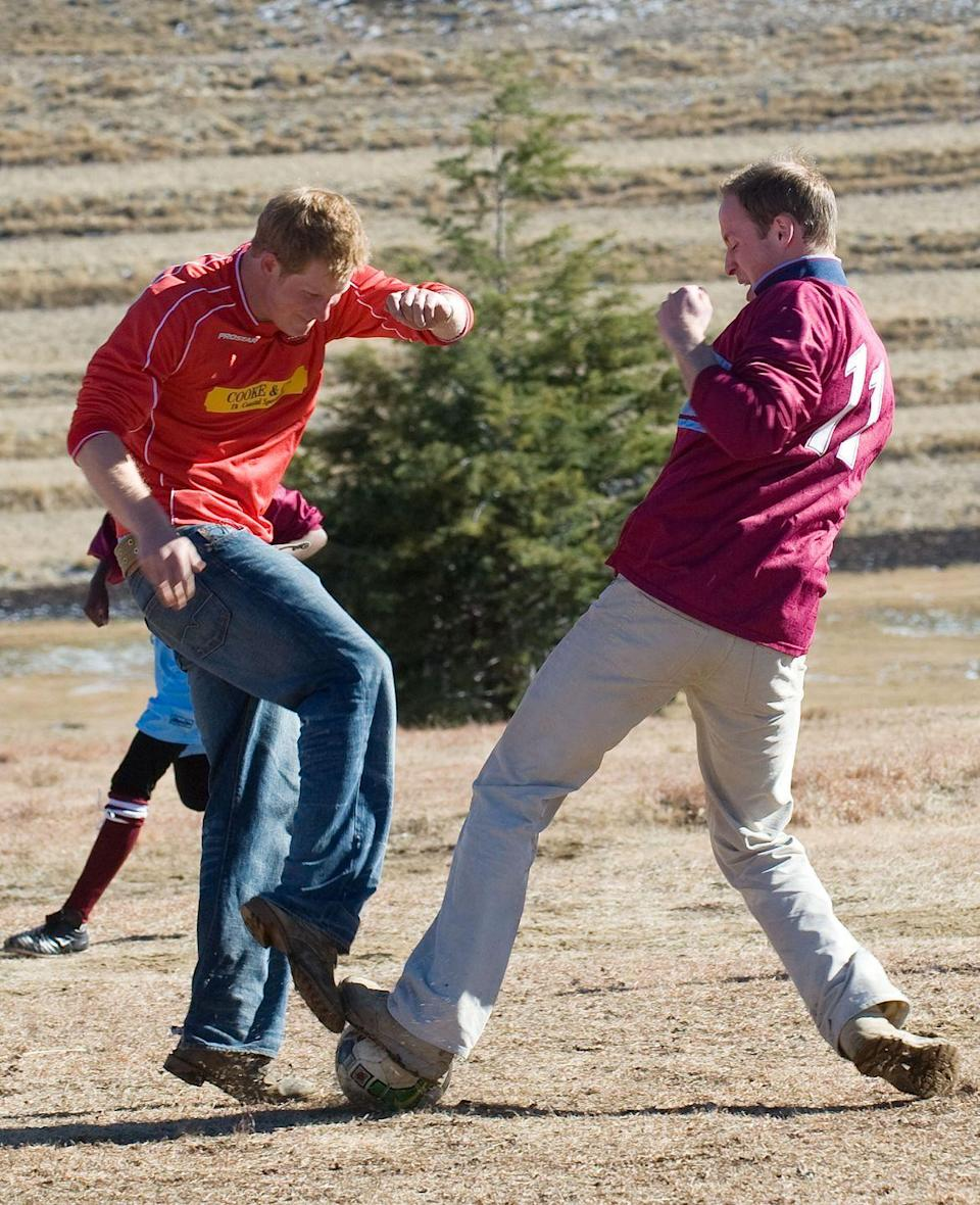 """<p>Every Christmas at Sandringham, Prince Harry and Prince William play in a soccer game with staff at the estate. <a href=""""https://www.popsugar.com/celebrity/photo-gallery/39222051/image/39223364/Getting-Down-Dirty"""" rel=""""nofollow noopener"""" target=""""_blank"""" data-ylk=""""slk:According to PopSugar"""" class=""""link rapid-noclick-resp"""">According to <em>PopSugar</em></a>, both princes """"wear the socks of their favorite teams (Aston Villa for William and Arsenal for Harry).""""</p>"""