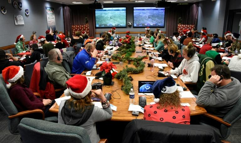 Since 1955 NORAD has been tracking Santa, seen here at Peterson Air Force Base, Colorado, on December 24, 2019 (AFP Photo/Alexandra M. LONGFELLOW)