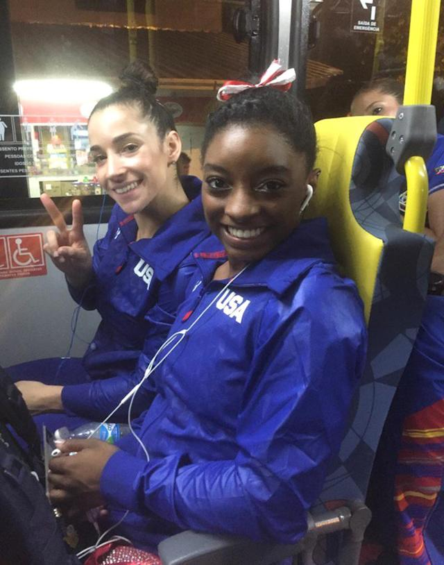 """<p>Rhonda Faehn, Senior Vice President of women's USA Gymnastics, took this shot on the way home from the qualifiers on August 7, 2016: """"On bus after amazing meet by Simone and Aly and Team USA!!!"""" (@RhondaUSAGym/Twitter) </p>"""
