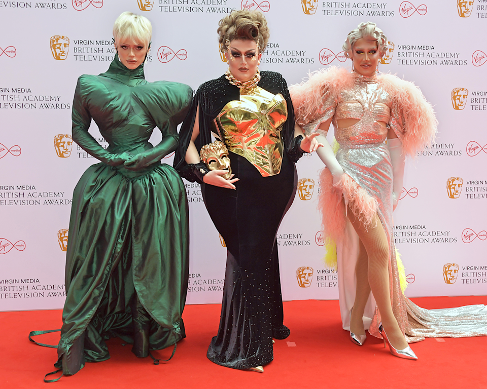<p>RuPaul's Drag Race UK's Bimini Bon Boulash, Lawrence Chaney and Awhora go for maximalist chic with three statement gowns.</p>