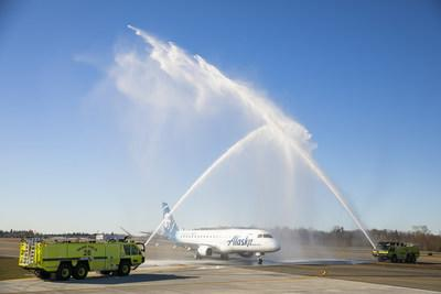 The first Alaska Airlines departure from the new Paine Field terminal, with service provided by Horizon Air, had a water arch salute today as the flight prepared for takeoff.