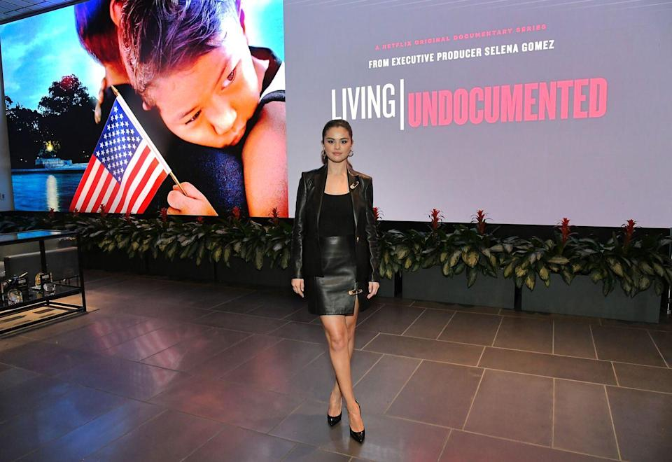 <p>The singer and actor wore a Versace leather skirt suit to the LA Screening For Netflix's Living Undocumented which she produced, in October 2019.</p>