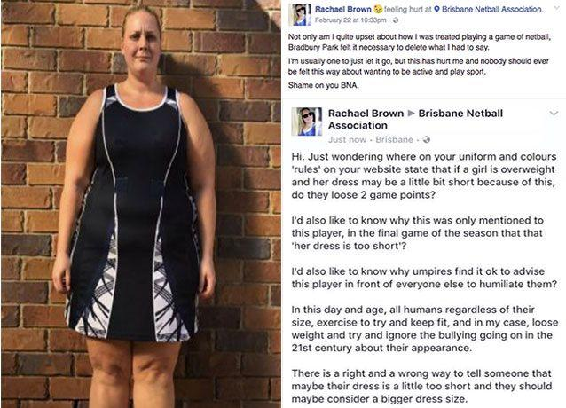 A Brisbane netballer has hit back at her netball association after she claims an umpire said her uniform was too short because she was fat. Pictures: Supplied