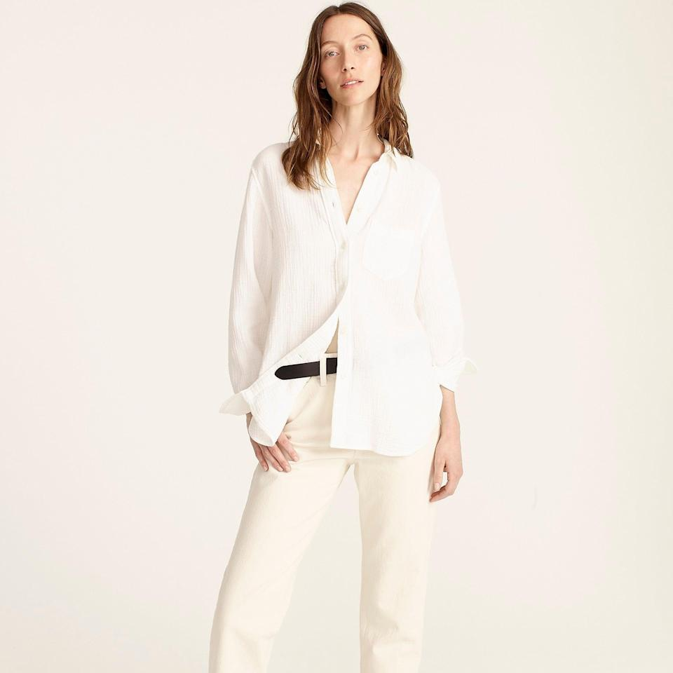 """<h2>J.Crew Classic Fit Cozy Gauze Shirt</h2><br><strong>The Best Classic White Button-Down</strong><br>As far as classic white button-downs go, J.Crew knows a thing or two; the preppy-cool brand has been crafting crisp oxford shirts since the 1940s. And, this cozy cotton-gauze style is no exception to its unprecedented tailoring excellence. Reviewers call it """"the perfect everyday shirt"""" that feels like """"being wrapped in a soft cloud.""""<br><br><strong>The Hype: </strong>4.4 out of 5 stars, 55 reviews on J.Crew<br><br><strong>What They're Saying: </strong>""""I have to add my voice to all the others saying this is the best shirt ever. I bought it in white and black (the black is slightly faded, i.e. not jet-black). Comfy and flattering. Perfect cozy shirt for warm weather, or as a coverup for hot sun. I love the long lean silhouette — and the fit and drape are beautiful. And, it is sexy despite being totally modest. A magician designed this!"""" <br><br><strong>J.Crew</strong> Classic-fit cozy gauze shirt, $, available at <a href=""""https://go.skimresources.com/?id=30283X879131&url=https%3A%2F%2Fwww.jcrew.com%2Fus%2Fp%2Fwomens%2Fcategories%2Fclothing%2Fshirts-and-tops%2Fclassic-fit-cozy-gauze-shirt%2FAW686"""" rel=""""nofollow noopener"""" target=""""_blank"""" data-ylk=""""slk:J.Crew"""" class=""""link rapid-noclick-resp"""">J.Crew</a>"""