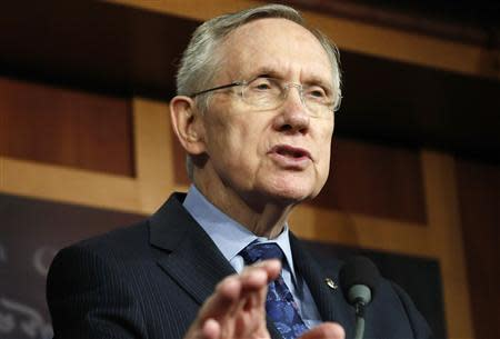 Reid addresses reporters at a news conference in Washington