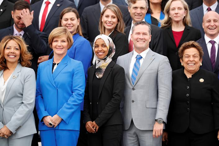 Ilhan Omar, front row center