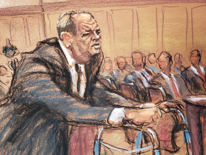 Film producer Harvey Weinstein leans on his walker in Criminal Court on the first day of his sexual assault trial