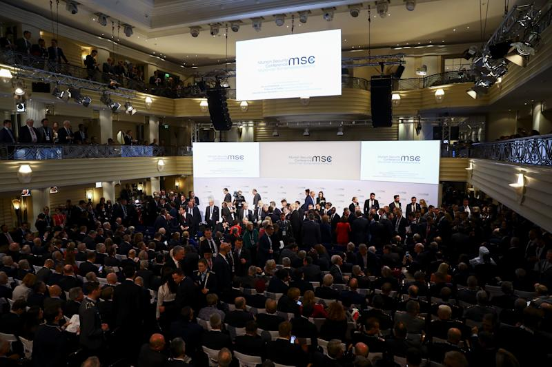 MUNICH, GERMANY - FEBRUARY 14: A general view of the 56th Munich Security Conference at Bayerischer Hof Hotel in Munich, Germany on February 14, 2020. (Photo by Abdulhamid Hosbas/Anadolu Agency via Getty Images)
