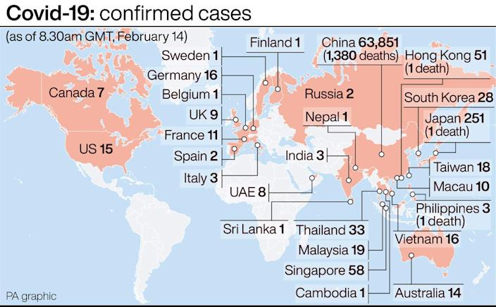 Covid-19: confirmed cases. See story HEALTH Coronavirus. Infographic PA Graphics