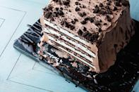 """This pretty ice box cake comes together easily, thanks to prepared ice cream sandwiches, which also give it a stunning, retro look. <a href=""""https://www.epicurious.com/recipes/food/views/mint-chocolate-ice-cream-sandwich-cake?mbid=synd_yahoo_rss"""" rel=""""nofollow noopener"""" target=""""_blank"""" data-ylk=""""slk:See recipe."""" class=""""link rapid-noclick-resp"""">See recipe.</a>"""