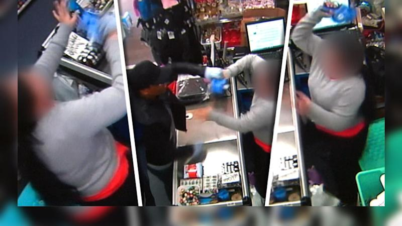 Queensland shop keeper uses her pricing gun to fight off thief
