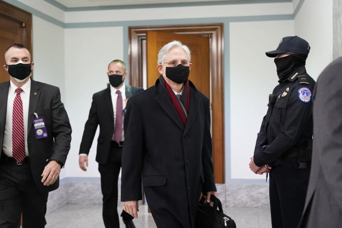 Judge Merrick Garland, President Joe Biden's pick to be attorney general, arrives on Capitol Hill for his confirmation hearing,, Monday, Feb. 22, 202, in Washington. (AP Photo/J. Scott Applewhite)