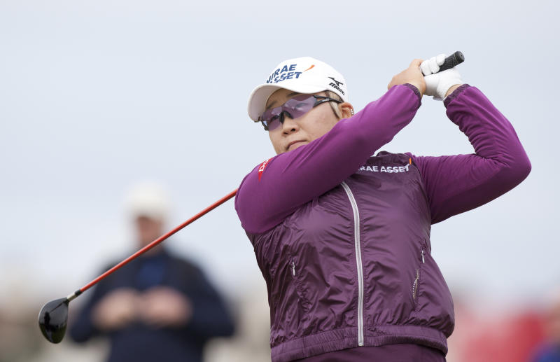 South Korea's Jiyai Shin drives off the fourth tee at the Women's British Open golf championships at Royal Liverpool Golf Club, Hoylake, England, Sunday Sept. 16, 2012. (AP Photo/Jon Super)