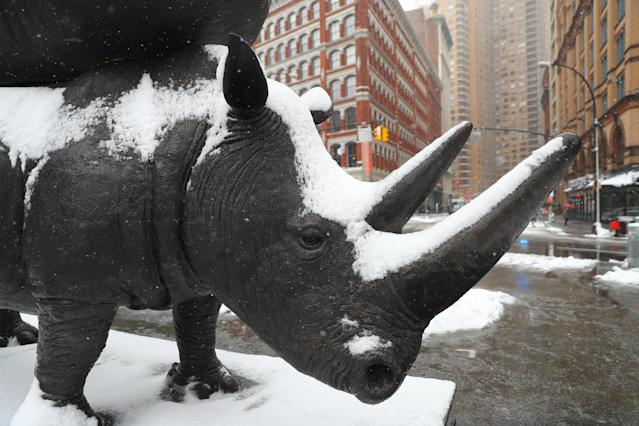 "<p>A closeup of ""The Last Three"" rhino sculpture in Astor Place, New York City on March 21, 2018. The incredible 17-foot-tall interactive artwork is being created to raise critical awareness about rhino conservation. (Photo: Gordon Donovan) </p>"