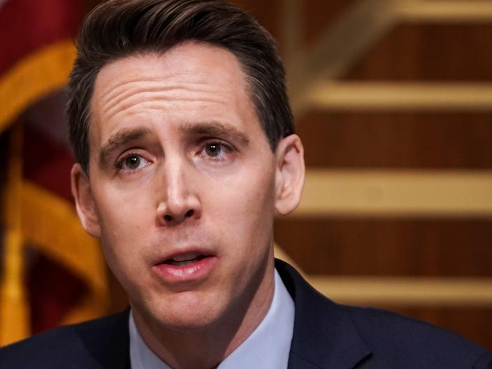 <p>Sen Josh Hawley asks questions during a Senate Homeland Security & Governmental Affairs Committee hearing to examine baseless claims of voter irregularities in the 2020 election</p> (EPA)