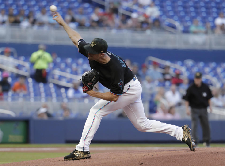 Miami Marlins starting pitcher Trevor Richards throws during the first inning of the team's baseball game against the New York Mets, Friday, May 17, 2019, in Miami. (AP Photo/Lynne Sladky)