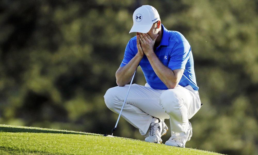 Jordan Spieth is dejected after blowing his victory chances around the turn at last year's Masters.