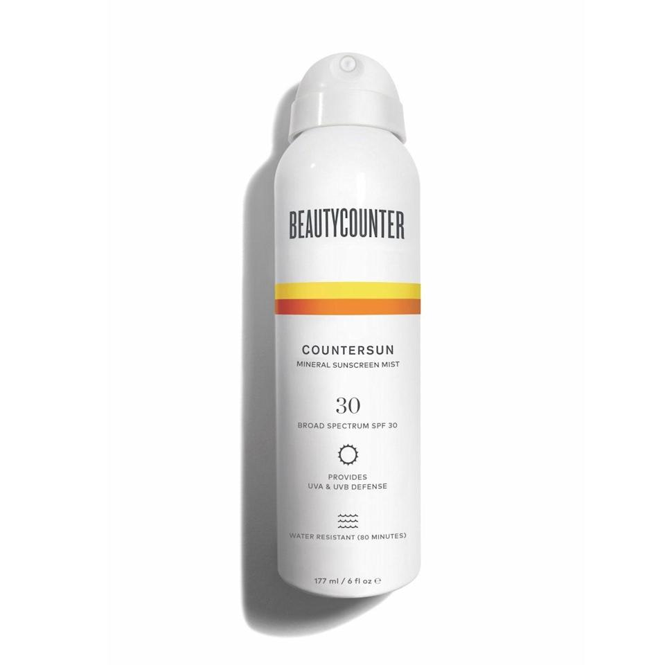 """Since Beautycounter Countersun Mineral Sunscreen Mist sprays on white, you won't miss a thing — or should I say, a spot. Its extremely blendable formula absorbs within seconds, leaving no white cast on the skin. Formulated with non-nano zinc oxide and California poppy, this sunscreen mist feels soothing and soft as you massage it onto your body. Because the updated packaging uses compressed air, doing away with aerosol, it's a safer choice for you and the environment. $36, Beautycounter. <a href=""""https://www.beautycounter.com/product/countersun-mineral-sunscreen-mist-spf-30"""" rel=""""nofollow noopener"""" target=""""_blank"""" data-ylk=""""slk:Get it now!"""" class=""""link rapid-noclick-resp"""">Get it now!</a>"""