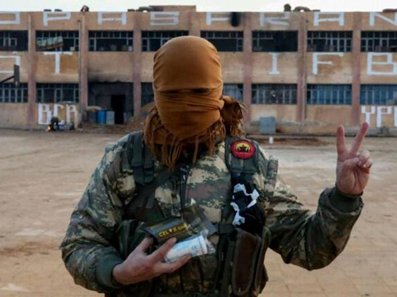 A member of the Bob Crow Brigade at the YPG's International Freedom Battalion headquarters on the Raqqa front (Supplied)