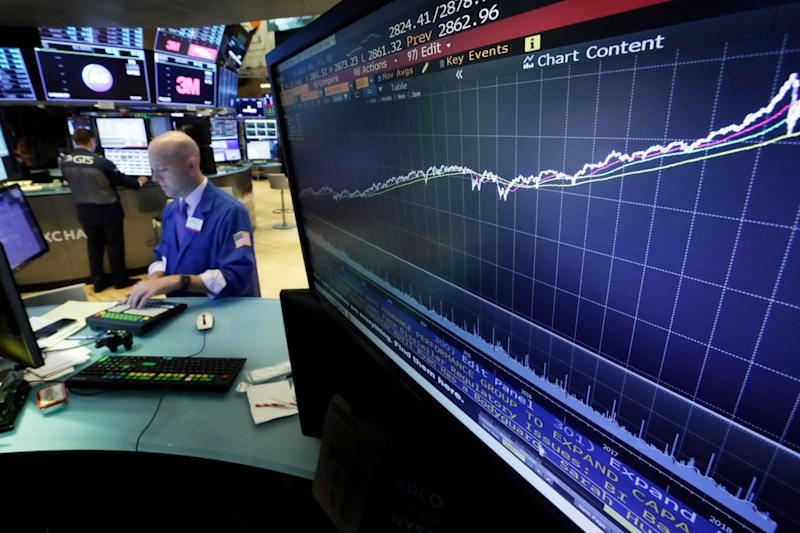 FILE- In this Wednesday, Aug. 22, 2018, file photo a chart on a screen on the floor of the New York Stock Exchange shows the rise of the S&P 500 index since 2009. Strong corporate earnings growth and a resilient U.S. economy bolstered by a solid job market and consumer confidence set the stage for the market to continue the upward trajectory it's been on for more than nine years, experts say. (AP Photo/Richard Drew, File)