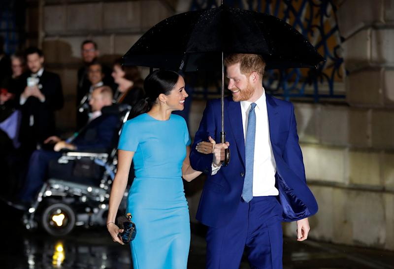 Prince Harry and Duchess Meghan of Sussex on one of their last public engagements in London, on March 5, 2020, at the annual Endeavour Fund Awards.