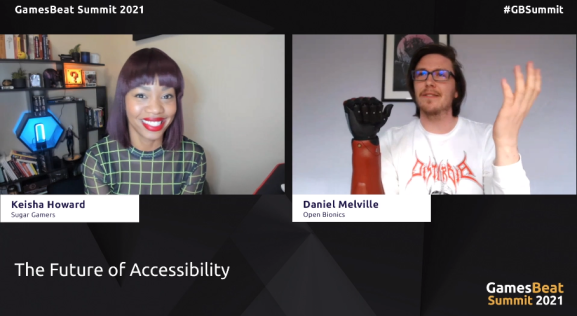Keisha Howard of Sugar Games digs into making games and prosthetics more accessible with Daniel Melville (right), who has a Hero Arm from Open Bionics.