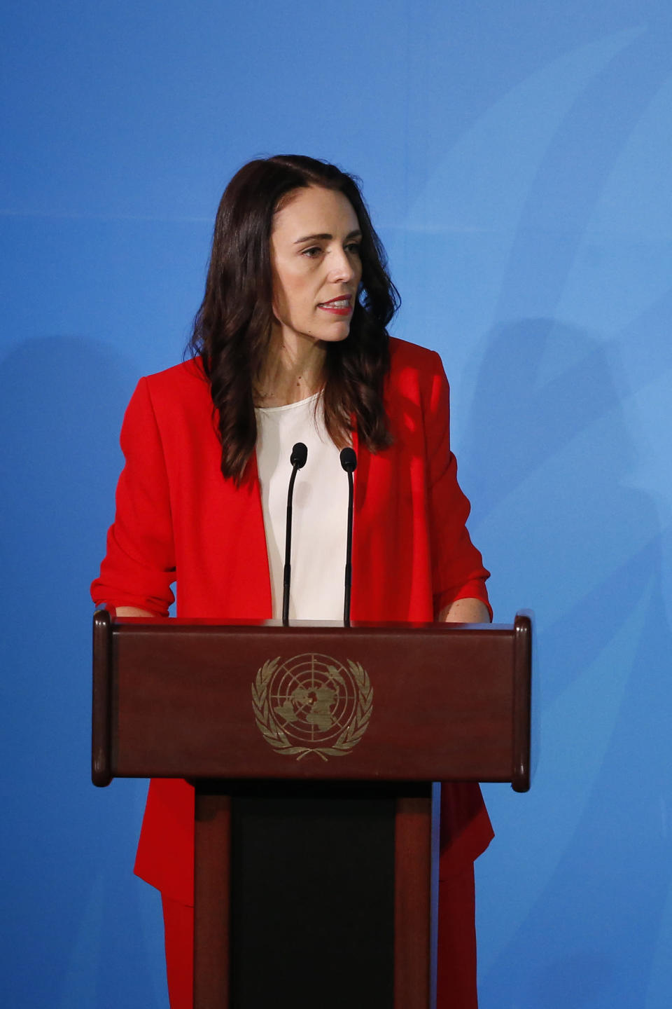 New Zealand's Prime Minister Jacinda Ardern addresses the Climate Action Summit in the United Nations General Assembly, at U.N. headquarters, Monday, Sept. 23, 2019. (AP Photo/Jason DeCrow)